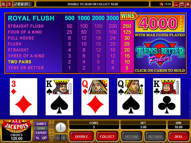 online-video-poker-variation-tens-or-better