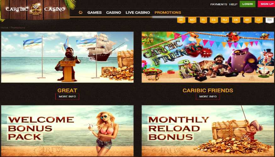 Caribic-Casino-homepage